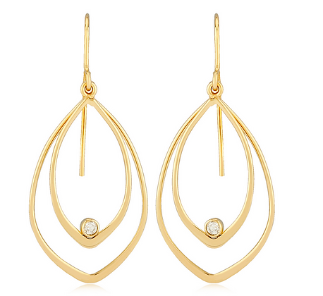 Double Pointed Drop Earring With Diamonds