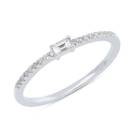 Baguette Diamond Stack Band - White