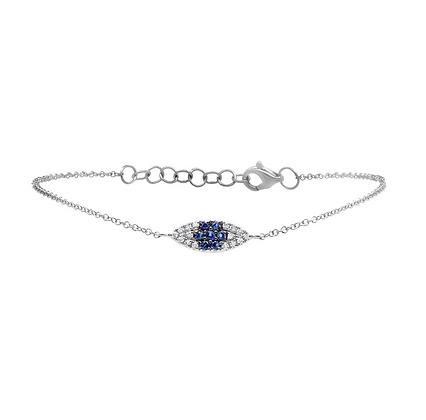 Sapphire Evil Eye Bracelet - White