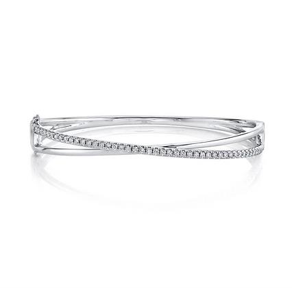 Diamond Crossover Bangle - White