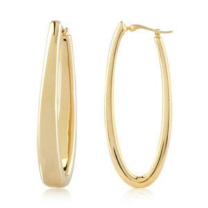 Oval Oblong Hoop Earring