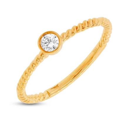 Bezel Set Diamond Ring - Yellow