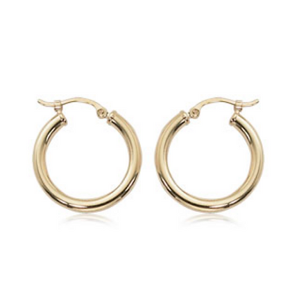 "0.75"" Yellow Gold Hoop Earring"
