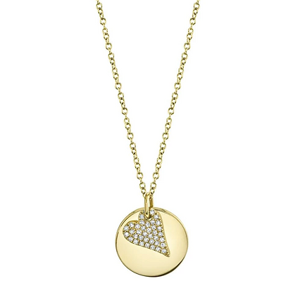 Diamond Pavé Heart & Disc Necklace - Yellow