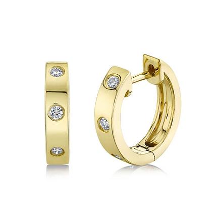 Diamond Studded Huggie Earring - Yellow