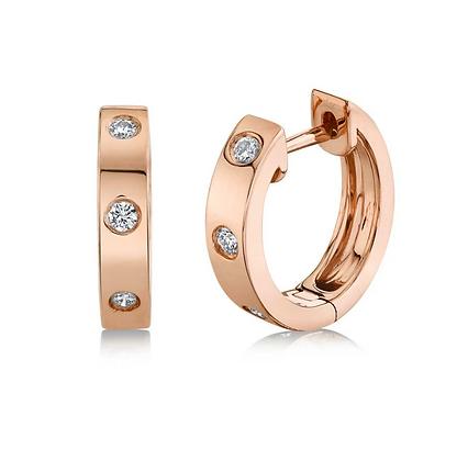Diamond Studded Huggie Earring - Rose