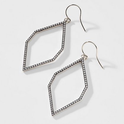 Frontal Geometric Earring - Black & Silver
