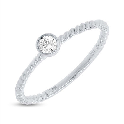 Bezel Set Diamond Ring - White