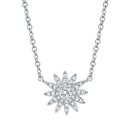 Petite Starburst Necklace - White