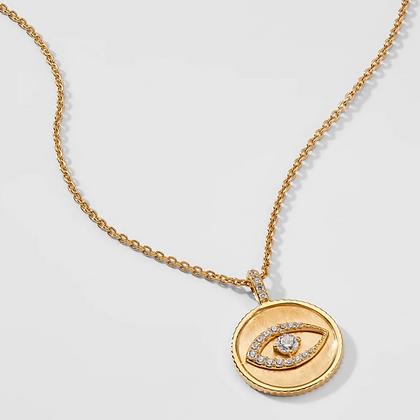 Evil Eye Medallion Pendant - Gold