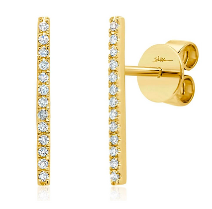 Diamond Bar Stud Earring - Yellow