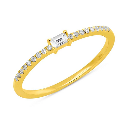 Baguette Diamond Stack Band - Yellow