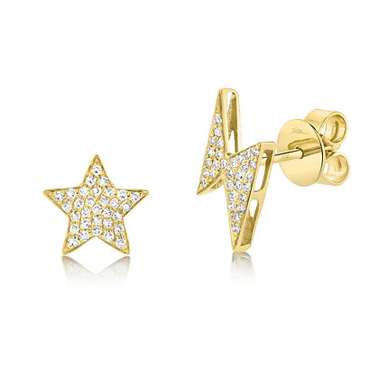 Star & Lightening Stud Earring