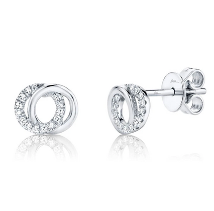 Love Knot Circle Earring - White