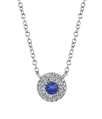 Sapphire Pendant With Pavé Halo