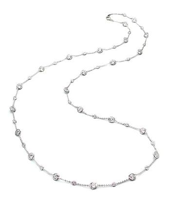Stationed Bezel-Set Necklace - Long