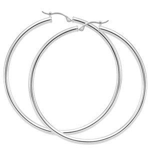 """2"""" Hoop Earring - White Gold"""