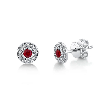 Ruby Stud Earring With Pavé Halo