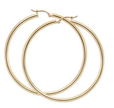 "2"" Yellow Gold Hoop Earring"