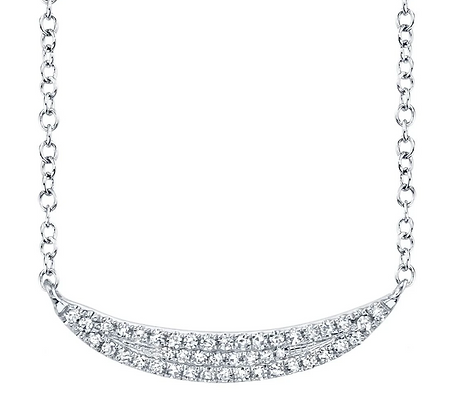 Pavé Crescent Necklace - White
