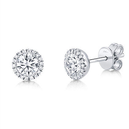 Round Diamond Halo Stud Earring
