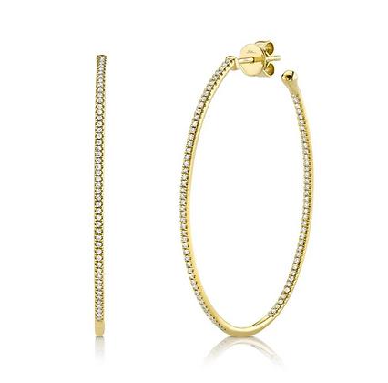 0.46ct Diamond Oval Hoop Earring - Yellow