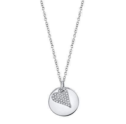 Diamond Pavé Heart & Disc Necklace - White