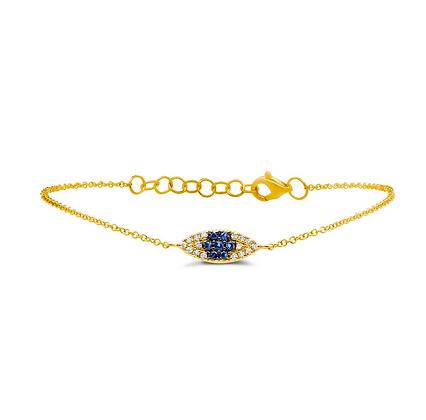 Sapphire Evil Eye Bracelet - Yellow