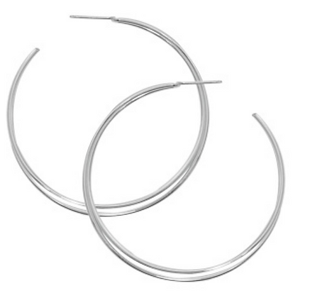 Sterling Silver Large Double Crossover Hoop Earring