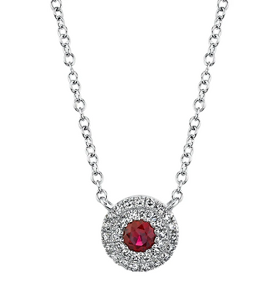 Ruby Pendant With Pavé Halo