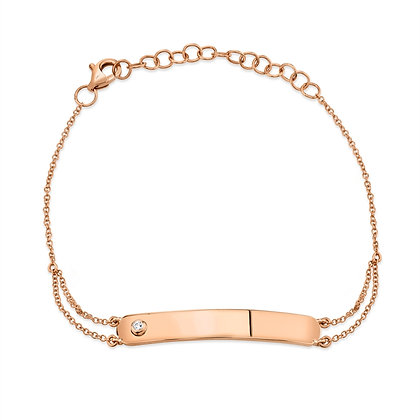 Diamond Bar ID Bracelet - Rose