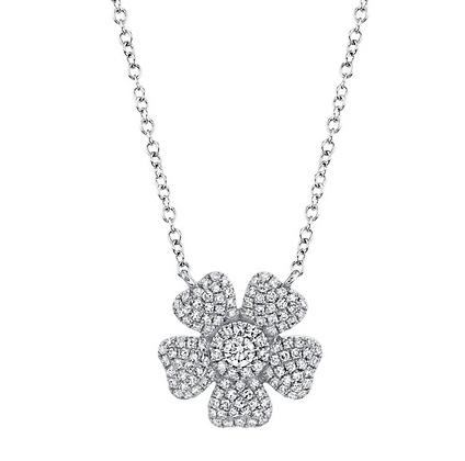 Diamond Pavé Flower Necklace