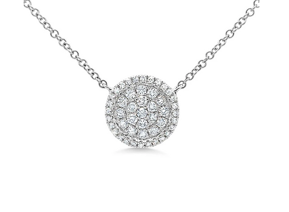 Diamond Circle Necklace With Border