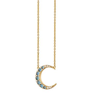 Aquamarine Midi Crescent Moon Necklace