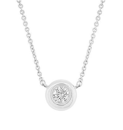 0.11ct Bezel Set Diamond Pendant - White