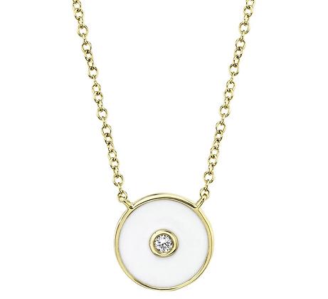 White Enamel Circle Necklace