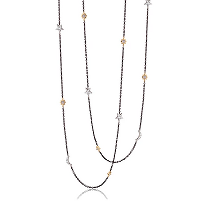 Sun, Moon and Stars Two-Tone Layering Chain