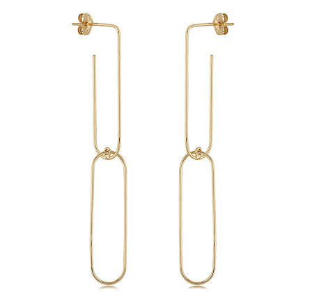Yellow Gold Paperclip Drop Earring