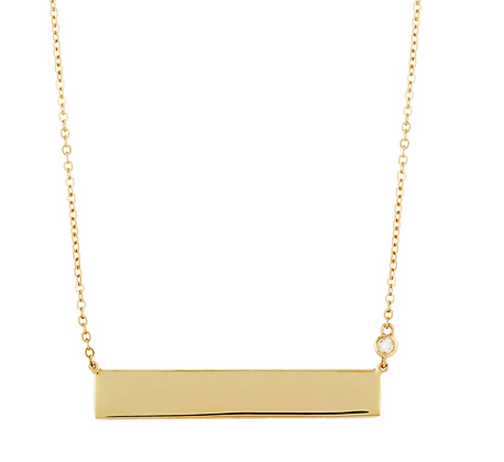 Bar Necklace With Diamond Accent