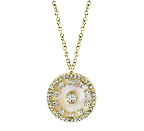 Diamond Studded Mother Of Pearl Medallion