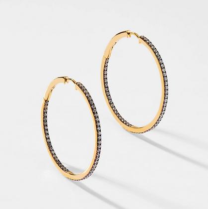 Black & Gold Hoop Earring