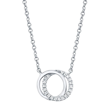 Love Knot Circle Necklace - White