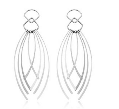 Sterling Silver Curved 8 Fringe Earring