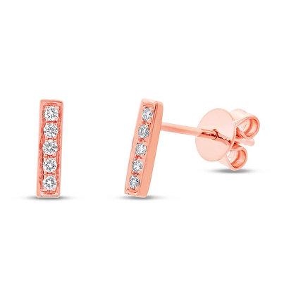 Diamond Bar Stud Earring