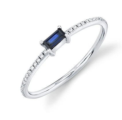 Baguette Sapphire Stack Band - White