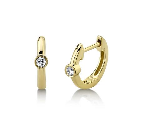 Diamond Bezel Huggie Earring