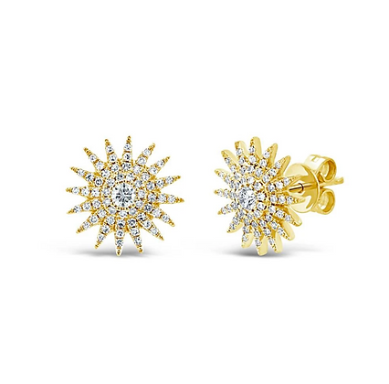 Sunburst Stud Earring - Yellow