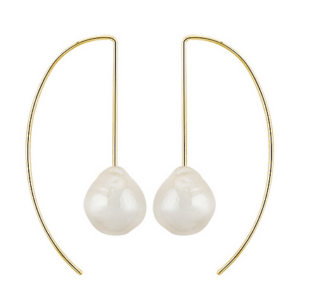 Curved Wire With Barouque Pearl Earring