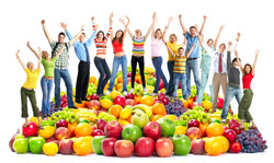 Group of happy people with fruits
