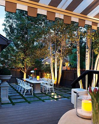 Backyard Design of Tile and Grass